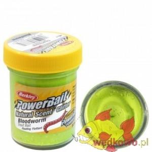 CIASTO BERKLEY NATURAL GLITTER TROUT BAIT 50g bloodworm  chartreuse